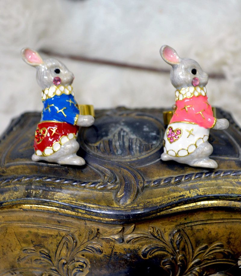 TIMBEE LO noble rabbit Earl ring small collar enamel hand-painted copper ring adjustable size