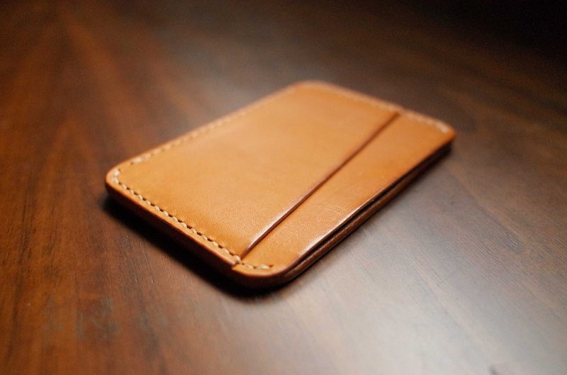 Hand-sewn leather portable wallet clip - light brown