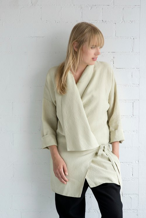Linen Jacket Motumo – 17SV3 / Handmade linen jacket with 3/4 sleeves / Washed linen jacket