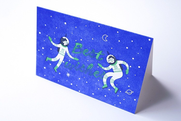 Book printing system, astronauts fun creative folding blessing card, co-illustrator Mary Zabaikina