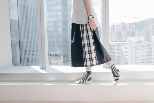 Homemade plaid long skirt
