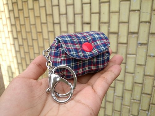Blue checkered small ornaments zero purse key ring strap*SK*