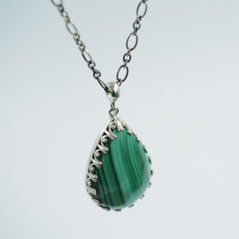 Large malachite natural malachite sterling silver hand-wrapped pendant with silver chain unique