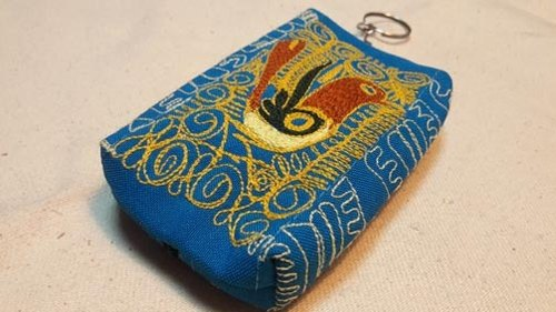 Hand-embroidered hummingbird box purse - Sky Blue