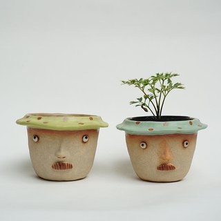 Funny Succulent planter set with uncle faces.