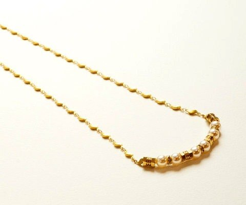 Graceful Brass Pearl Necklace