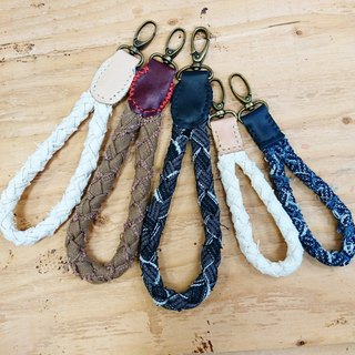 Ancient wind weave canvas / denim x leather hand stitching key chain / bag buckle / camera hand strap / bracelet