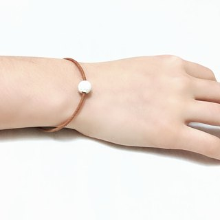 White Lava Bead Diffuser Thin Light Brown Leather Bracelet with Extend Chain