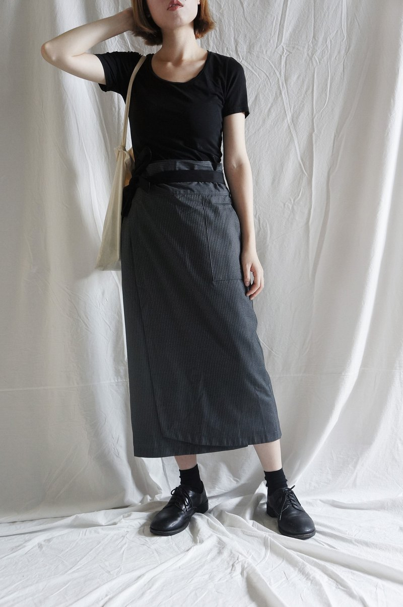 Wrap skirt gray striped tie wrap skirt