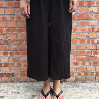 Pure natural washed double-layer cotton This black eight-point wide pants strict selection of 20 colors