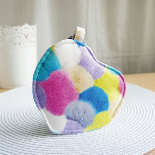 Lovely [Japan cloth custom] Colorful hair balls love purse, card sets, blue mixed colors