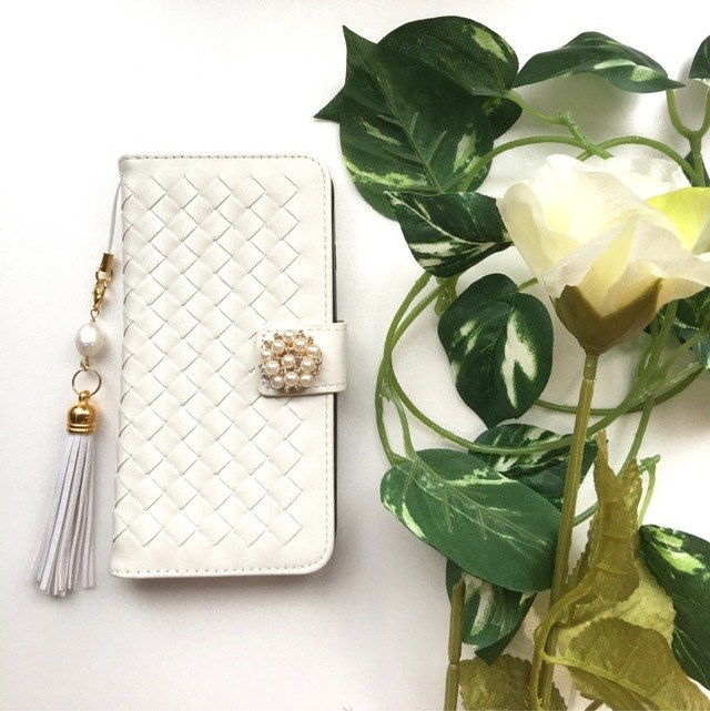 【Pajour】 (White) Intorechat notebook type smartphone case 【iPhone】 【notebook】 【knitting】