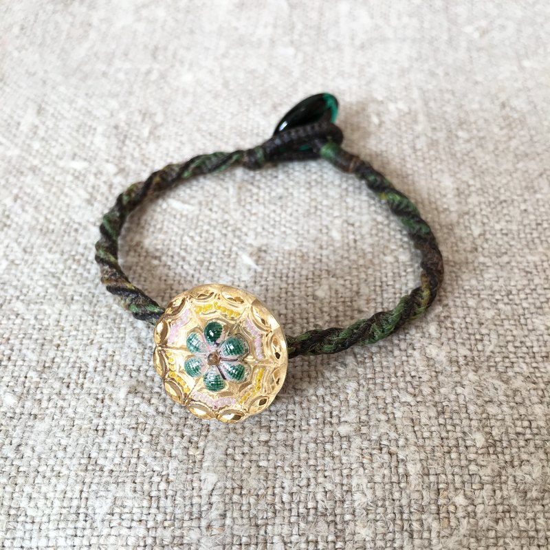 Gold green flowers painted glass buttons flax bracelet Czech glass button bracelet