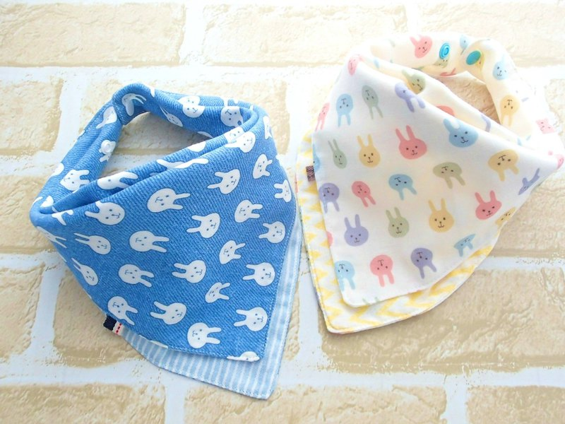 Baby Bib, Set of 2, Reversible Baby Bandana Bib, Japanese Cotton, Bunny Rabbit