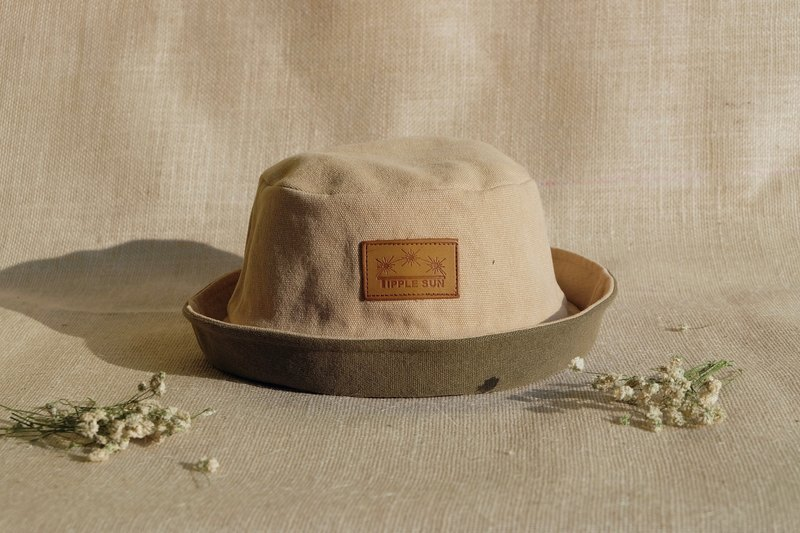 Tipple Sun Bucket Hat   (canvas Beige /Olive green)