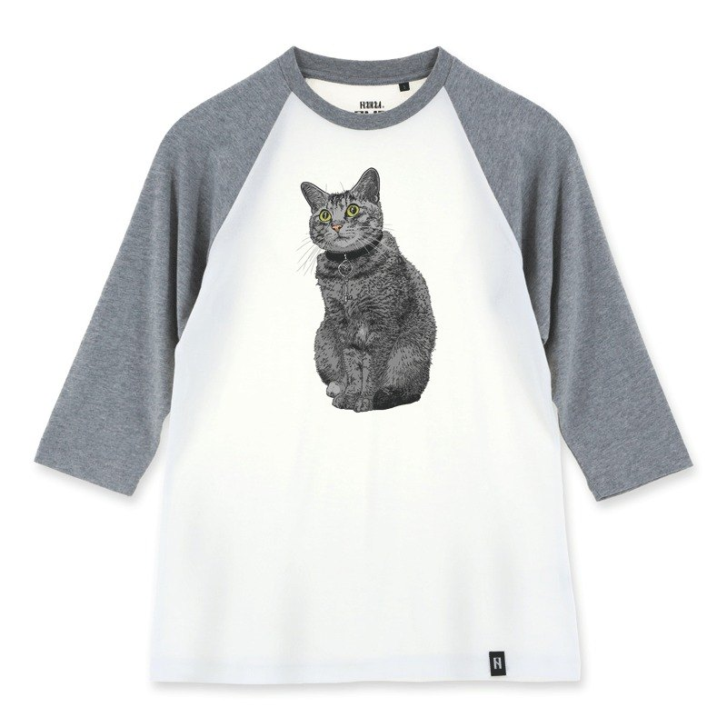AMO®Original canned cotton adult 3/4 raglan T-shirt/AKE/Cat Wearing Heart-open Key