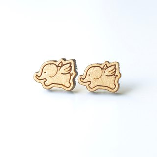 Plain wood earrings-Flying Elephant