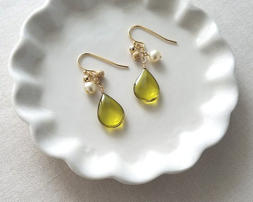 olive green drops pierced or clip-on earrings