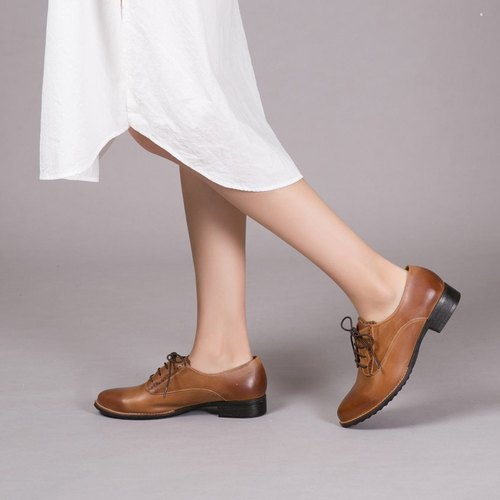 [English slow half shot] hollow rolled leather oxford shoes _ caramel cream (only 23)