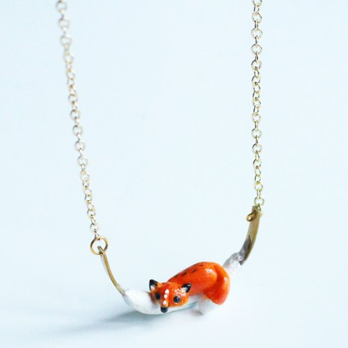 Fox necklace - polymer clay handmade necklace