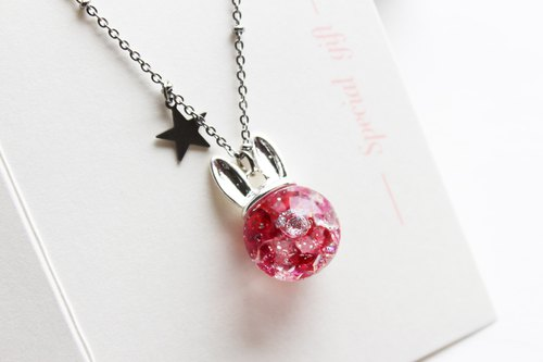Rosy Garden rabbit shape with dark pink crystal water inside glass ball necklace