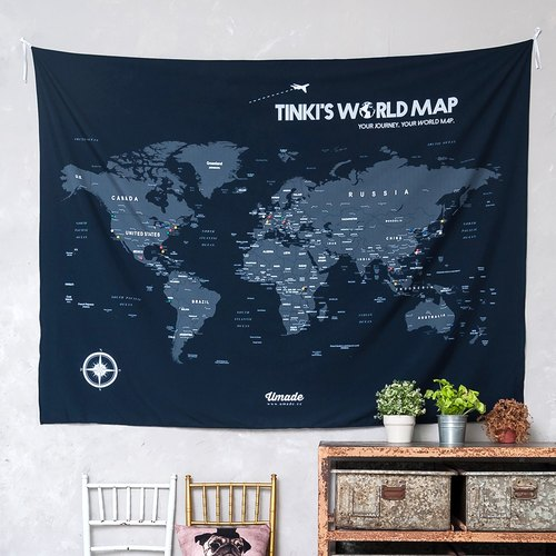Personalized World Map, Pin Map Travel Map-Navy Blue-Wall Decor (Fabric)