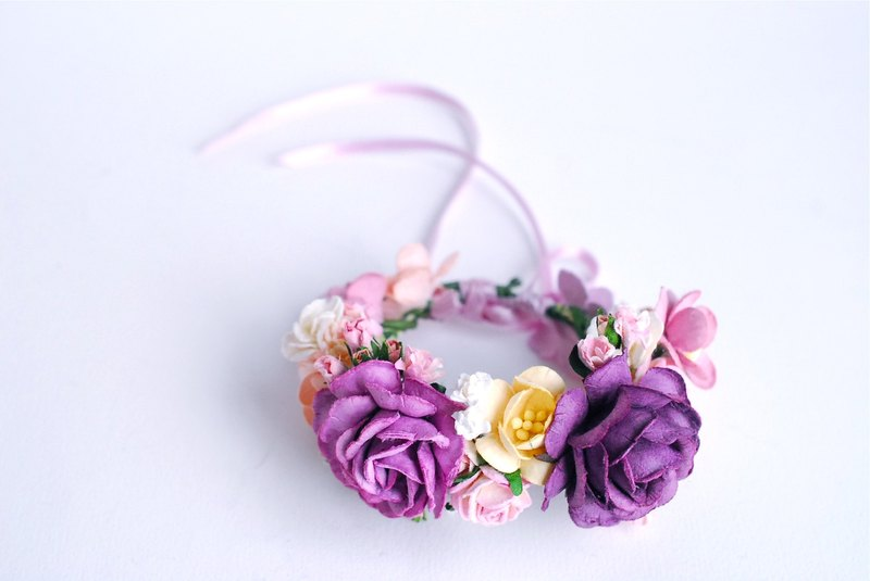 Paper Flower, purple, pale pink corsage, Wedding, greenery, Cardinal purple roses and some small flowers (middle are size 4.5 cm.) Handmade