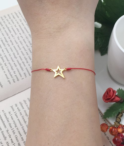 *Le Bonheur happy Line line*925 gold-plated sterling silver and gold stars stars invincible successful step forward step bracelet thin red line of ultra-fine hand rope