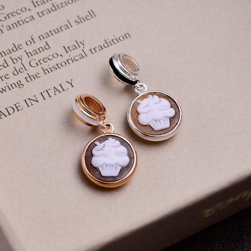 Italian handmade shell carving light jewelry - beaded CUP CAKE (silver / rose gold) - CH801