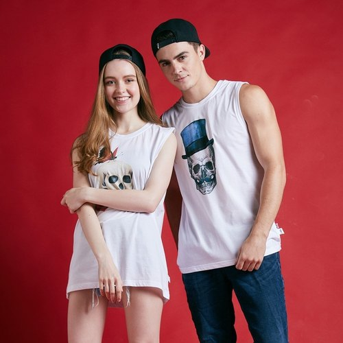 British Fashion Brand -Baker Street- SKULL IN LOVE printed Tank Top