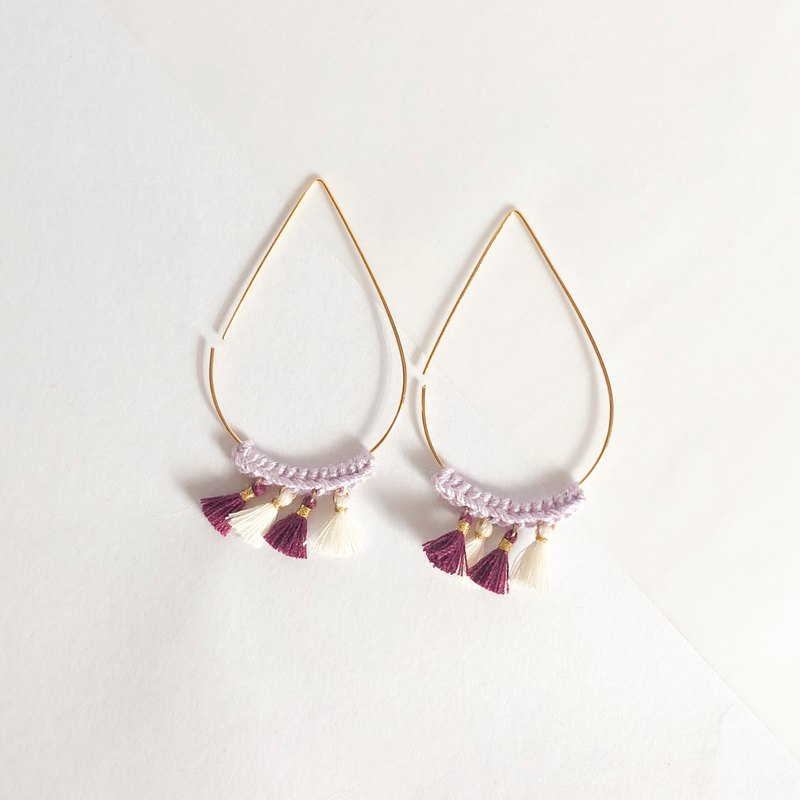 Bujielite- Crochet Gold Tear Drop Hoop Earring_with Purple thread