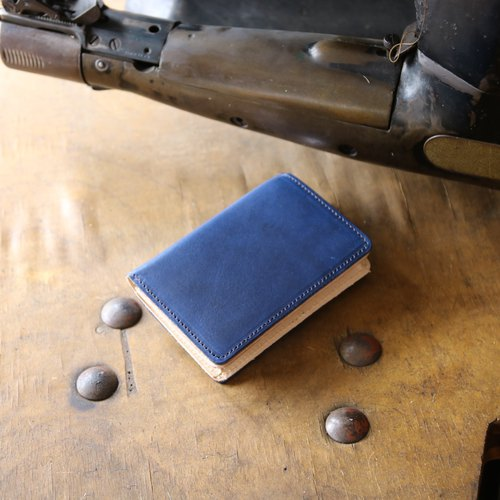 Japan manufactured cowhide name one canned name one bowl deep indigo made in JAPAN handmade leather card case