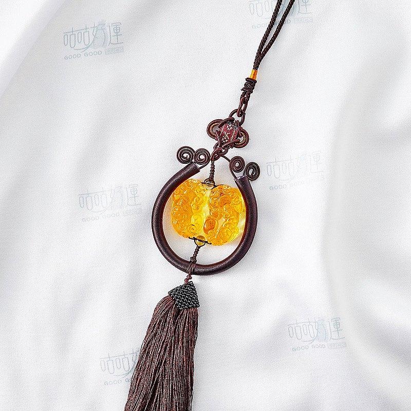 好運人造黃水晶雙貔貅車掛(含開光)驅邪、轉運、財運、事業運