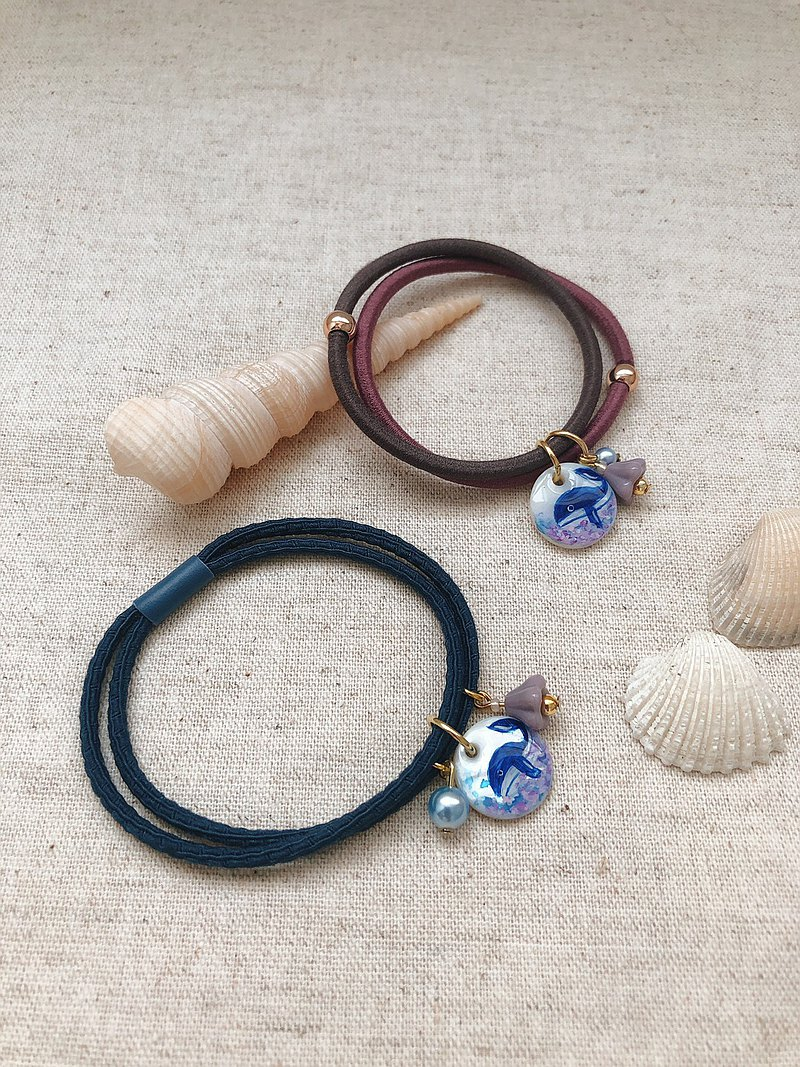 [Hana Mori Small Ornaments] Humming Whale Shell Painted Hair Tie (Single Entry)