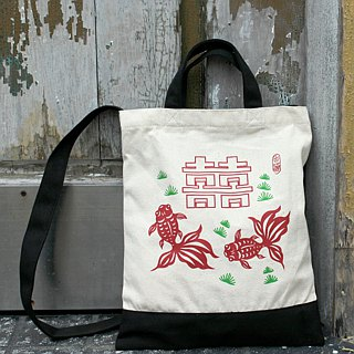 Double goldfish hand bag single back pocket