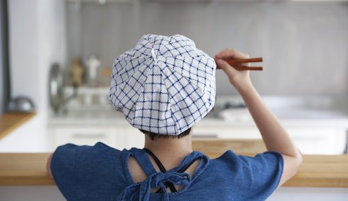 After school school handbag blue and white grid geometric simplicity white limited beret hat painter hat