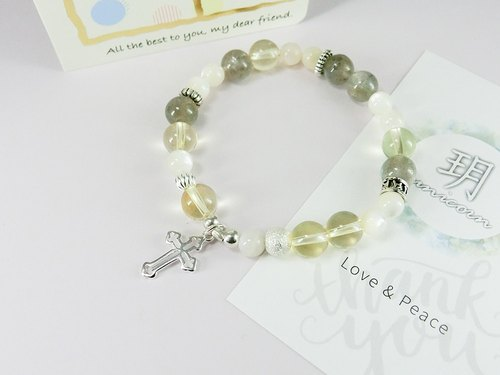 Lucky beaded natural stone silver bracelet │ egg yolk 玥 unicorn natural stone 925 sterling silver Tibetan silver moonstone citrine crystal beads