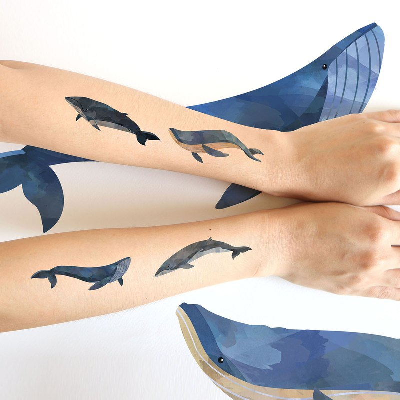 Blue whale sticker tattoos set. Watercolor painting style.(4 pcs /set)