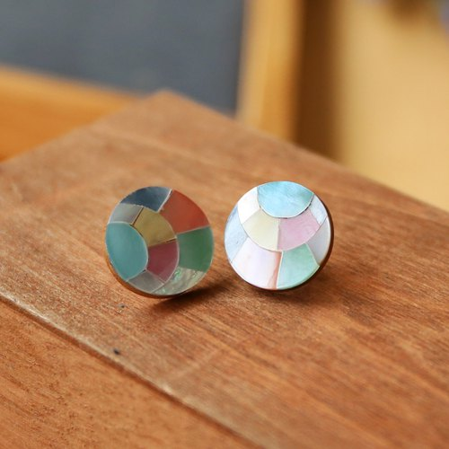 Japanese handmade ornaments - colorful geometric round earrings