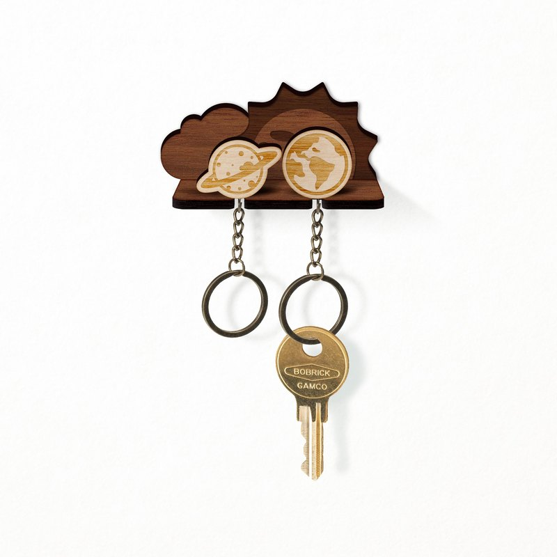 Small universe planet - wooden key ring pylon group (two entries)