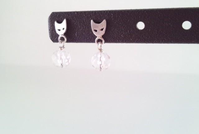 貓臉銀+水晶耳针