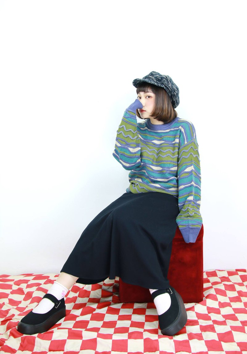 Back to Green :: Three-dimensional woven sweater monster college hit // men and women can wear // vintage (z-02)