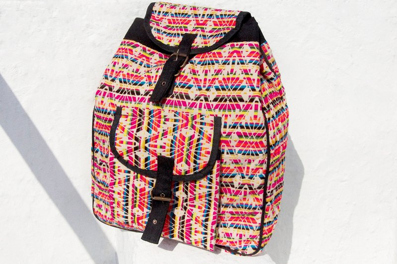 After the hand-knitted fabric stitching design backpack / shoulder bag / backpack after ethnic / Boho national totem package - after the tropical rainforest backpack hit the color geometric ethnic