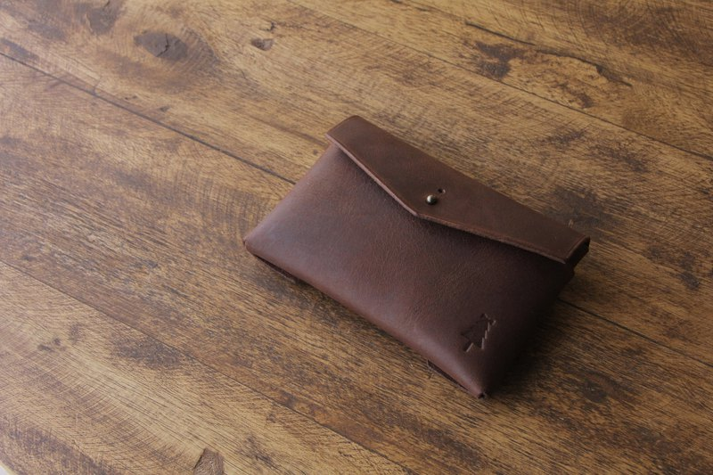[Make-to-order production] Matte texture card case Antique brown