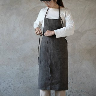 Rock gray natural plant dyed Hana belt apron restaurant studio flower room pottery studio apron
