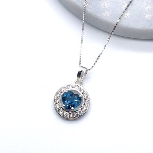 Blue Topaz heart stone inlay sterling silver with zircon necklace Nepal handmade mosaic
