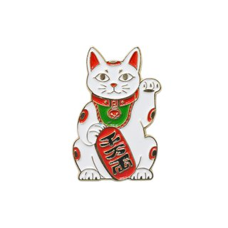 Maneki Cat White Pin