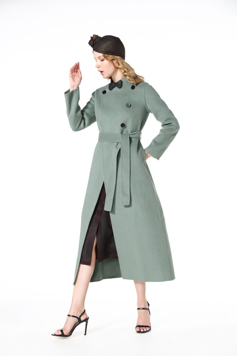 2019 bean sand green double-faced cashmere coat cashmere coat handmade custom knot