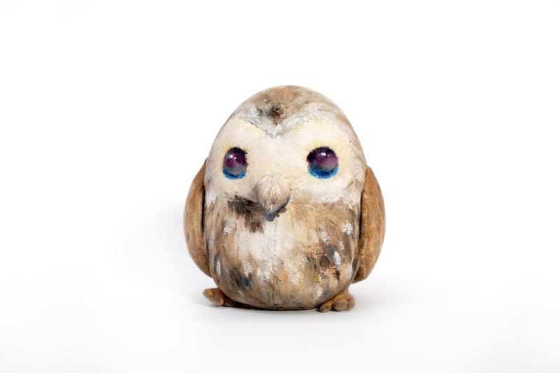 Handicraft owl doll || animal puppet / hand-painted acrylic / ornaments / limited edition