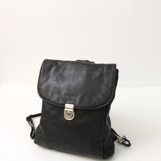 Vintage Leather Plaid Inner Black Backpack European Antique Bag European Vintage Bag